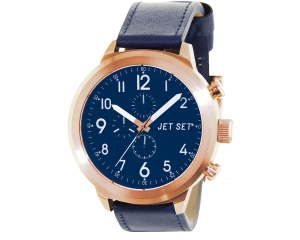 JET SET Watches MANHATTAN Damenarmbanduhr roségold/blau
